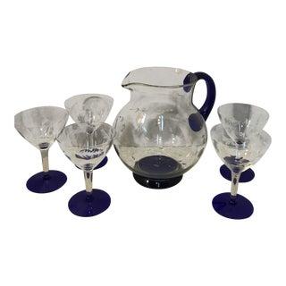 Cobalt Blue Floral Etched Glasses & Pitcher - Set of 6 For Sale