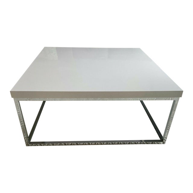 White Lacquer and Chrome Coffee Table With Tempered Glass Bottom Shelf For Sale