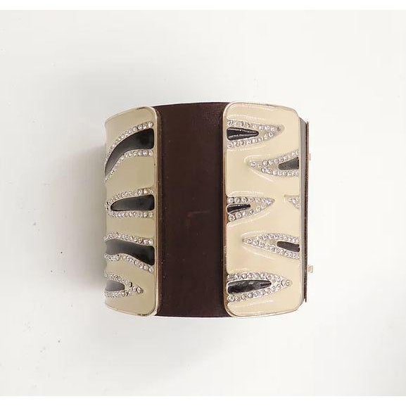 Valentino Leather & Enamel Zebra Stripe Rhinestone Cuff Bracelet For Sale - Image 10 of 12
