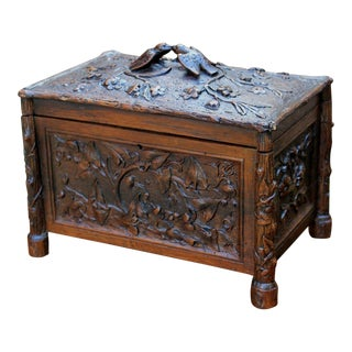 Antique French Carved Oak Late 19th Century Black Forest Jewelry Accessory Trinket Box Birds For Sale