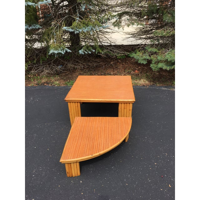 Mid-Century Rattan 2-Piece Table For Sale - Image 5 of 6