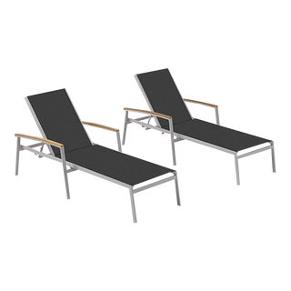 Outdoor Sling Chaise Lounge, Natural and Black (Set of 2) For Sale