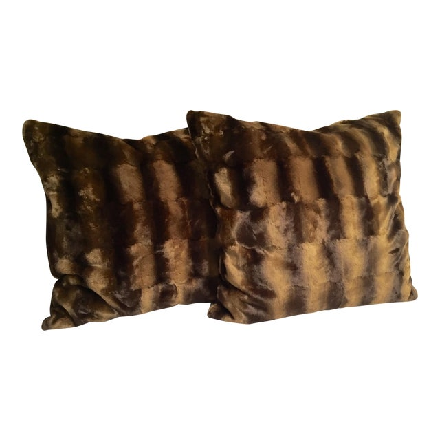 Contemporary Oversized Faux Mink Pillows - A Pair - Image 1 of 6