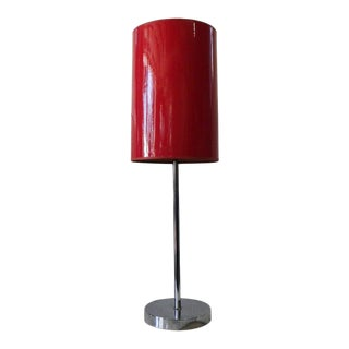 1960s Mid Century Chrome Candlestick Table Lamp With Red Shade For Sale