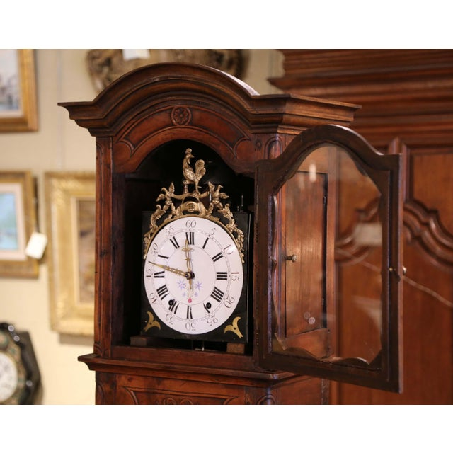 18th Century French Louis XV Carved Walnut and Burl Case Clock With Rooster For Sale - Image 4 of 12