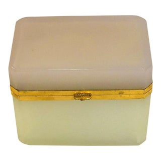 Vintage Pale Pink & Pale Green Opaline Box