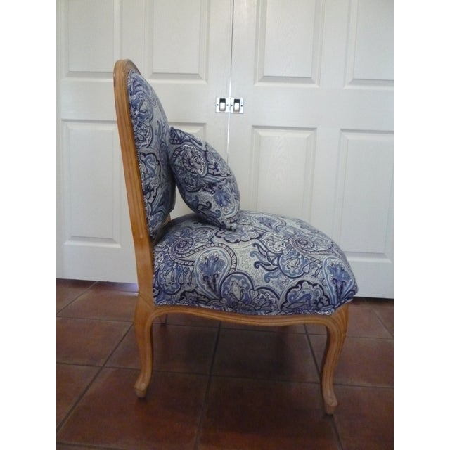 Vintage Blue Paisley French Provincial Armless Chair For Sale In Austin - Image 6 of 8