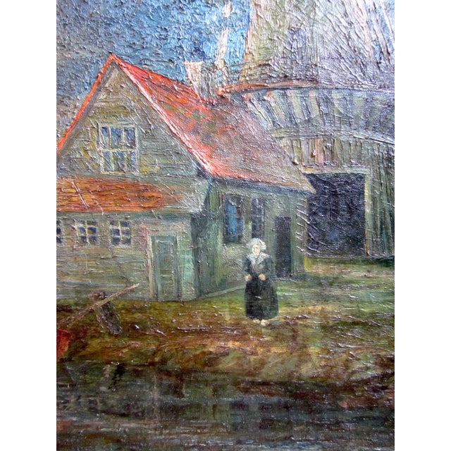 1920s Oil on Canvas Palette Knife Painting of Dutch Fishing Village Scene by Chicago Wpa Artist George Hruska For Sale In Chicago - Image 6 of 8