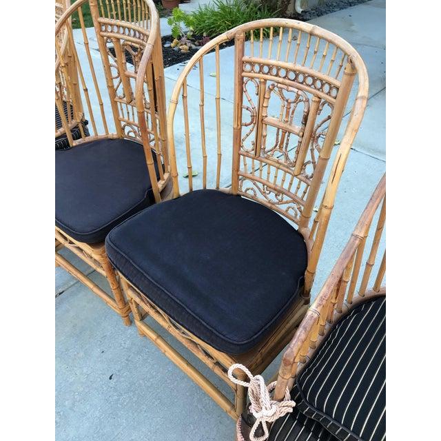 Mid 20th Century Thomasville Brighton Pavillion Vintage Rattan Chair - Set of Four For Sale - Image 5 of 13
