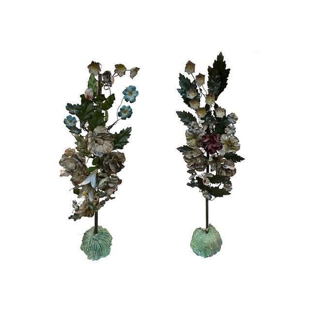 Metal 19th Century French Tole Floral Topiaries - a Pair For Sale - Image 7 of 7