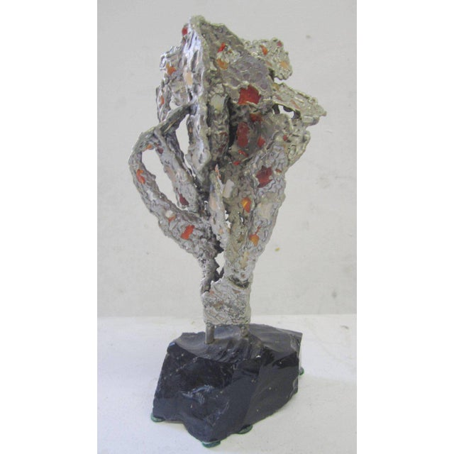Lead Abstract Sculpture with Obsidian Base and Agate Inserts For Sale - Image 4 of 7