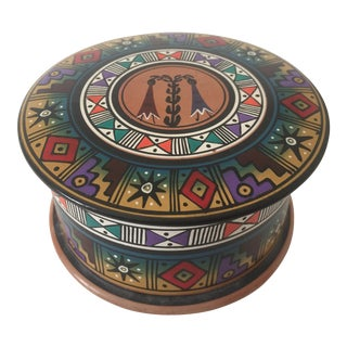 Vintage Handcrafted Ceramic Round Box from Peru