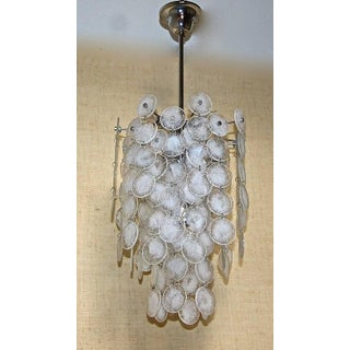 Murano Mazzega Cascading Clear and White Glass Disk Chandelier Preview