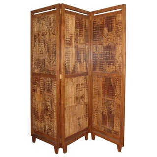 3 Panel Bamboo Screen Room Divider For Sale