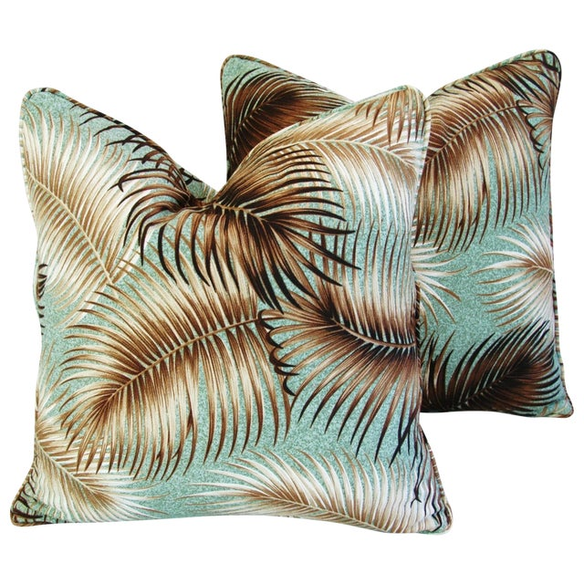 Mid-Century Palm Leaves Barkcloth Pillows - Pair - Image 1 of 9