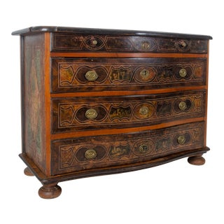 1740s Swiss Baroque Painted Walnut Chest of Drawers For Sale