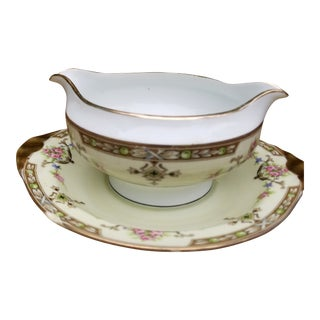 1910s Limoges Uc Sauce Server With Attached Plate For Sale