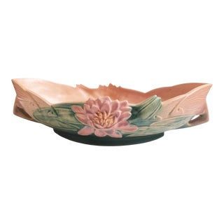 1940s Roseville Pottery Console Bowl - Water Lily #443-12 For Sale