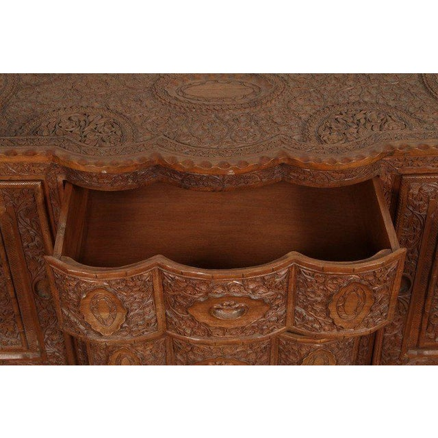 Asian Finely Hand-Carved Sideboard From Java, Indonesia For Sale - Image 4 of 10