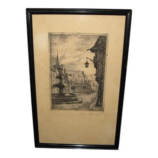 1940s Emily Leroy Signed Woodcut Print, Trinity Cathedral Falaise France For Sale