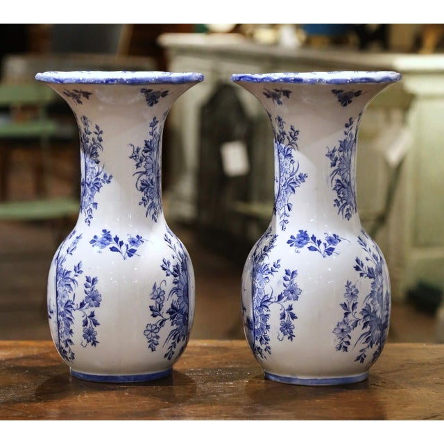 French Early 20th Century Dutch Blue and White Hand Painted Faience Delft Vases - a Pair For Sale - Image 3 of 10