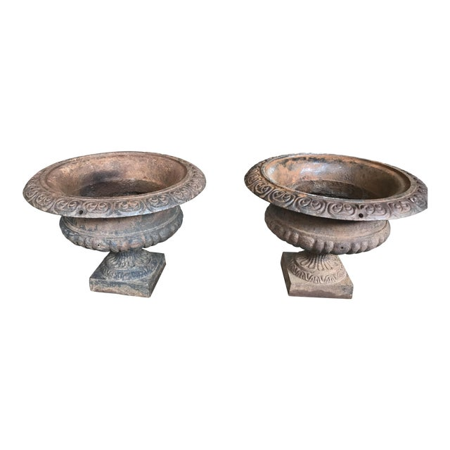 Antique Cast Iron Urns - a Pair For Sale