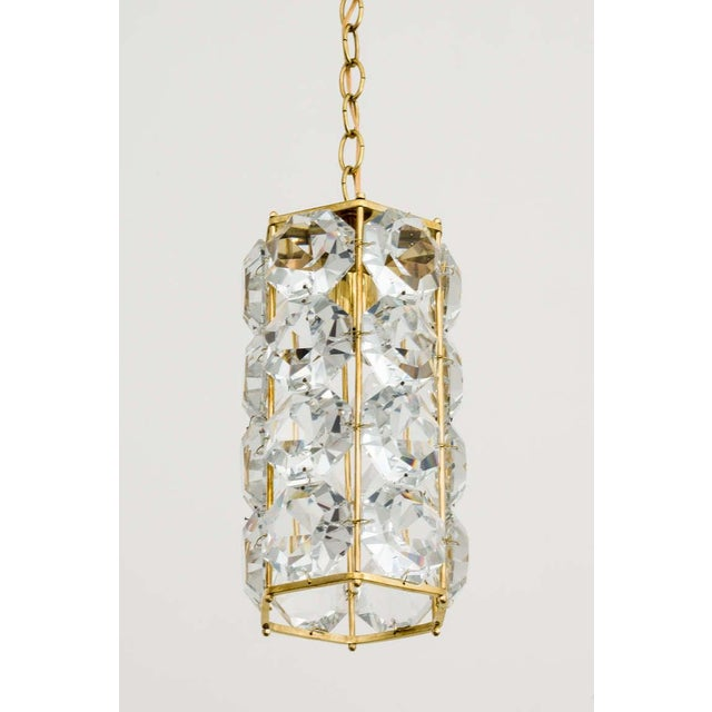 German 1960s Gilt Brass and Hexagonal Crystal Chandeliers - a Pair For Sale - Image 4 of 7