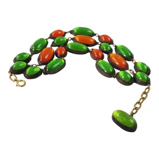Line Vautrin School Link Bracelet Green Orange Resin Talosel For Sale