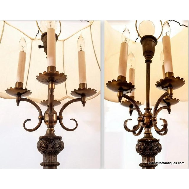 Metal Pair Vintage 1920s French Empire Style Candelabra Table Lamps For Sale - Image 7 of 10