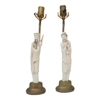 Chinese Carved Bone Lamps - a pair For Sale