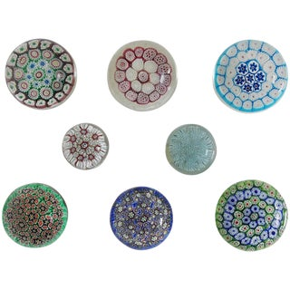 Collection of Eight Italian Murano Glass Millefiori Paperweights For Sale