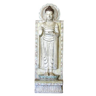 Buddha Tall Carved and Painted Teak Statue For Sale