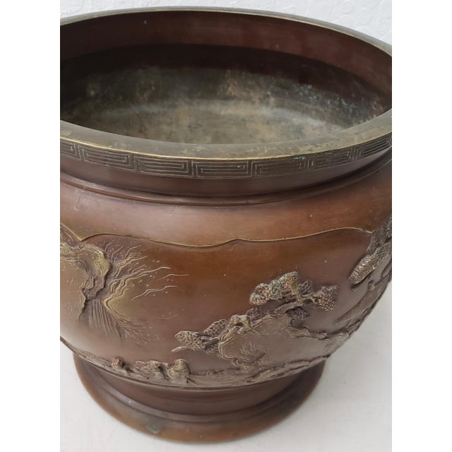 Early 20th Century Early 20th Century Chinese Raised Relief Bronze Planter For Sale - Image 5 of 9