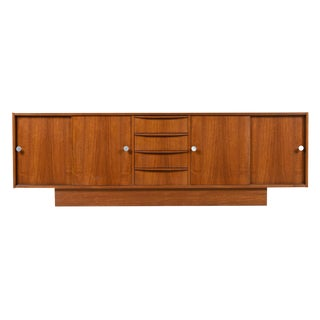 Long Low Scandinavian Modern Teak Sliding Door Front Credenza Made in Denmark
