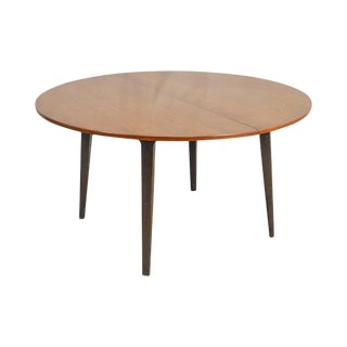 "Dunbar Edward Wormley Mid Century Modern 54"" Cherry & Walnut Dining Table (Opens 10 Feet)"