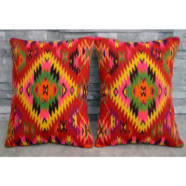 Vintage Turkish Kilim Rug Pillow Covers - A Pair - Image 3 of 5