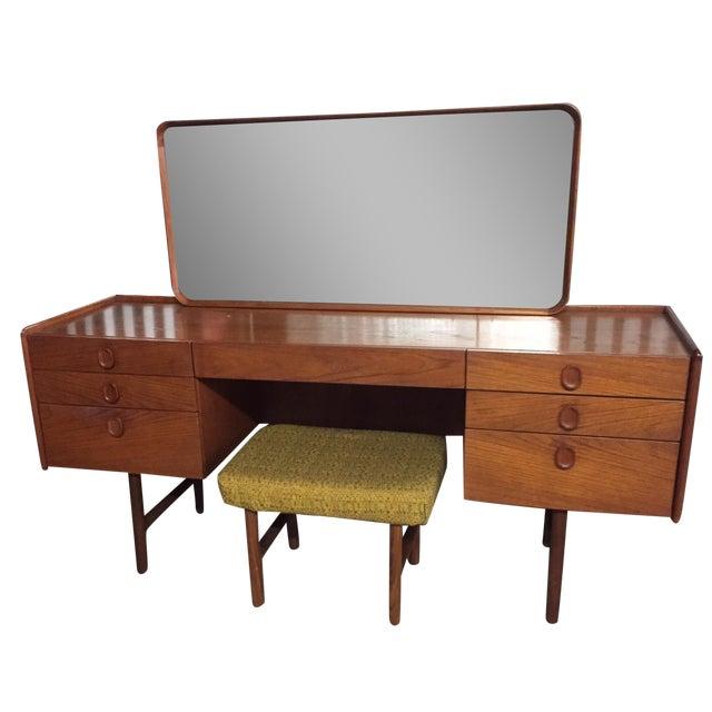Mid-Century Danish Modern Teak Vanity Desk & Stool - Image 1 of 8