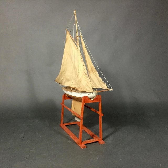 Americana Late 19th Century Tin Pond Sailboat on Stand For Sale - Image 3 of 11
