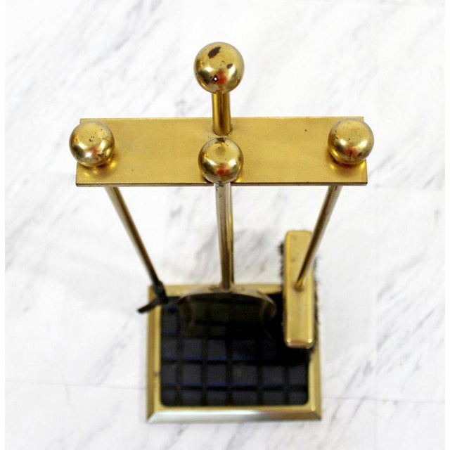 1960s Mid-Century Modern Brass Shovel Poker Brush Fireplace Tools For Sale - Image 9 of 10