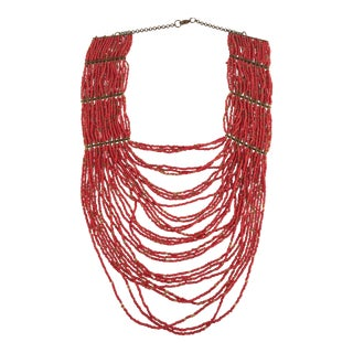 Boho Chic Coral Statement Necklace For Sale