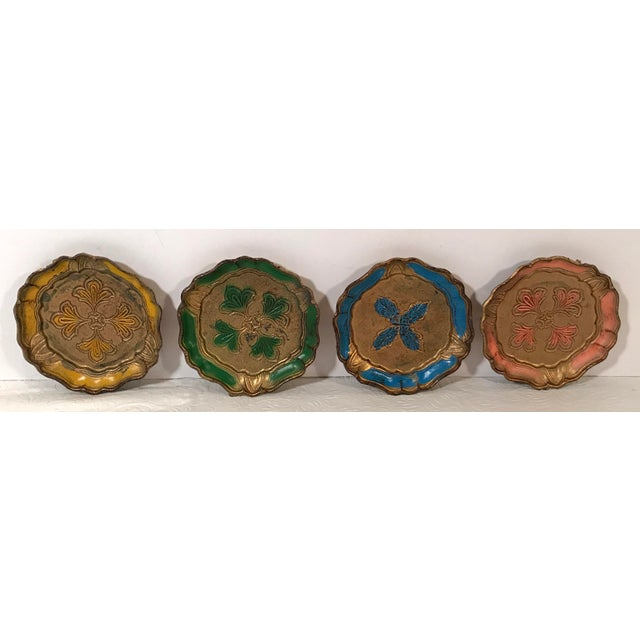 Italian Vintage Italian Florentine Coasters - Set of 4 For Sale - Image 3 of 5