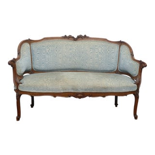 Vintage French Provincial Blue Velvet Ornately Carved Settee Loveseat For Sale