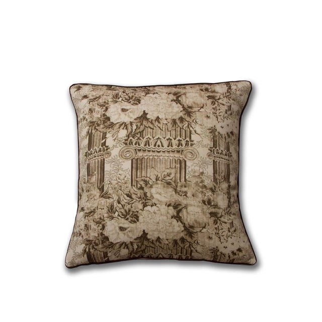 Traditional Traditional Sepia Toile Columns Pillow For Sale - Image 3 of 3