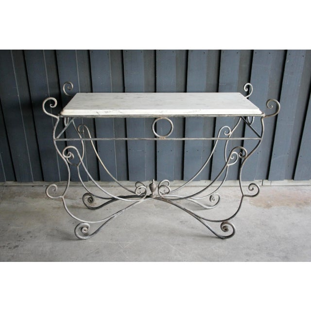 French Scrolled Iron Butcher / Pastry Table With White Marble Top For Sale - Image 13 of 13