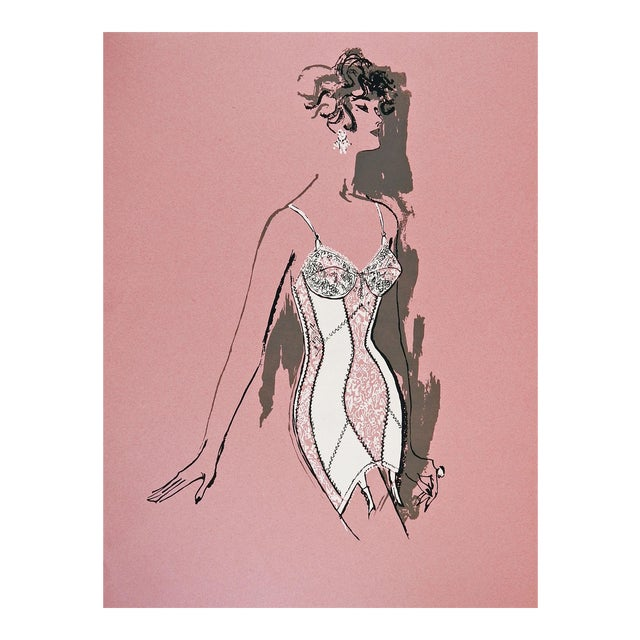 Lingerie Fashion Serigraph, 1960s For Sale