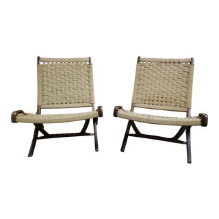 Mid Century Modern Hans Wegner Style Rope Folding Lounge Chair - Pair For Sale