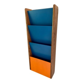 Mid Century Modern Walnut Wall Mounted Magazine Rack Holder Peter Pepper 1970s For Sale