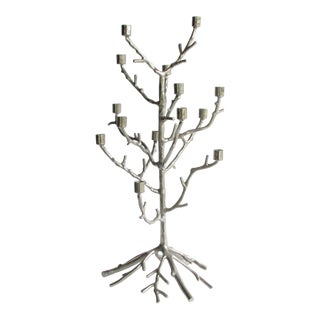 Vintage Faux Bois Cast and Polished Aluminum Candelabra For Sale
