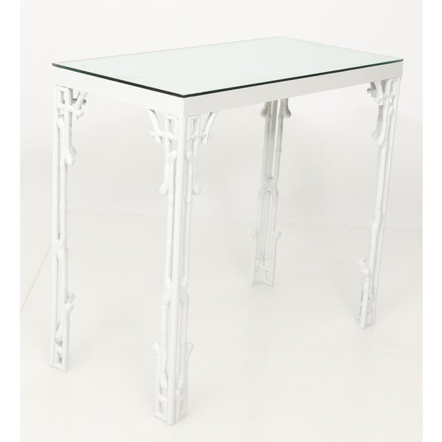 White Chinoiserie White Metal Bamboo Style Console and Bench For Sale - Image 8 of 12