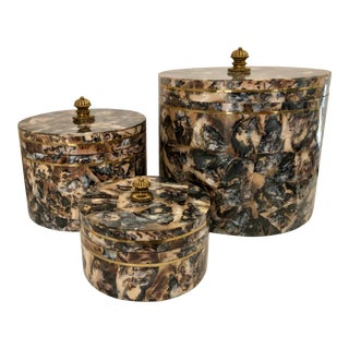 Mother of Pearl/Brass Boxes by M.Smith/3 For Sale